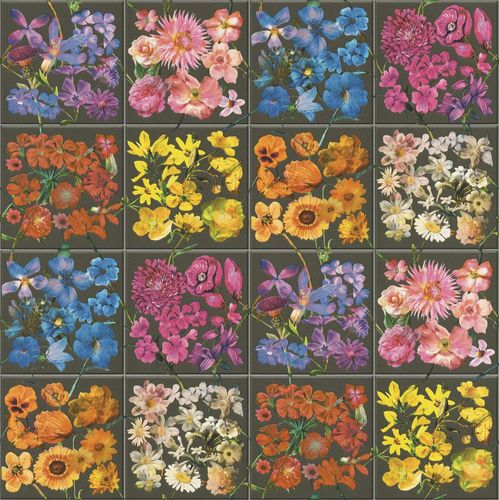 Wallpaper Rasch tiles flower bloom dark grey colourful 303414