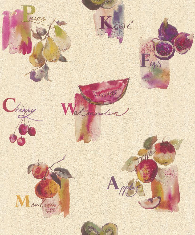 Küchen Tapete Rasch Früchte Küche creme pink 307511
