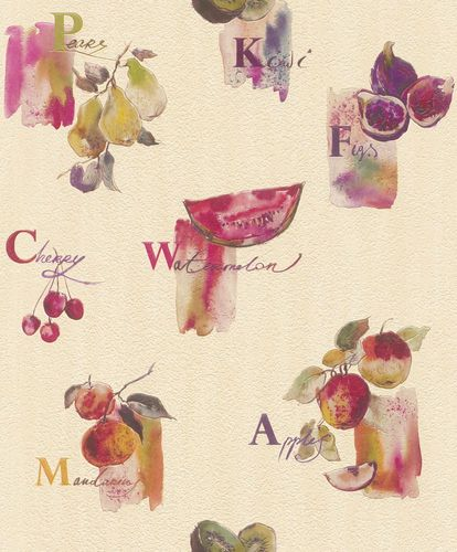 Wallpaper Rasch fruits kitchen cream pink 307511