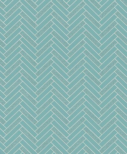 Wallpaper Rasch tiles zigzag design turquoise glitter 888218