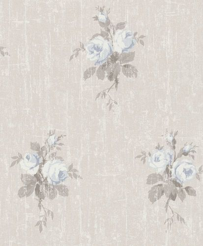 Wallpaper Rasch rose vintage beige blue 516111