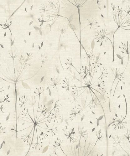 Eco wallpaper Rasch floral nature light grey anthracite 602913