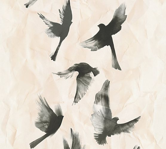 Wallpaper birds animal cream black AS Creation 34396-3 online kaufen