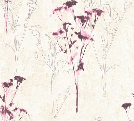 Vliestapete Floral Aquarell creme beere AS Creation 34398-2 online kaufen