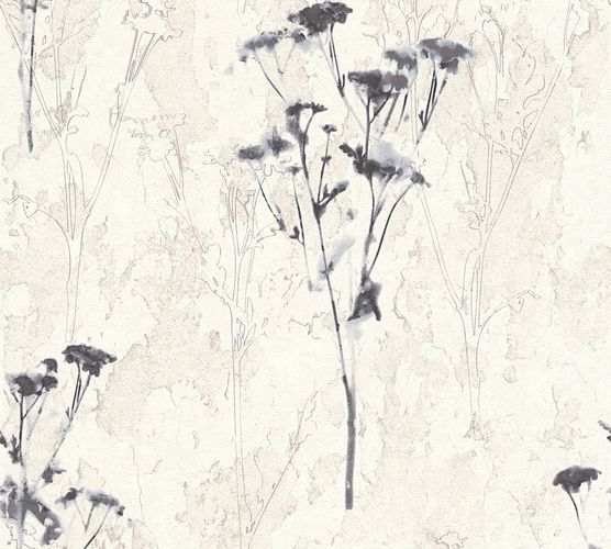 Wallpaper floral nature white dark blue AS Creation 34398-4 online kaufen
