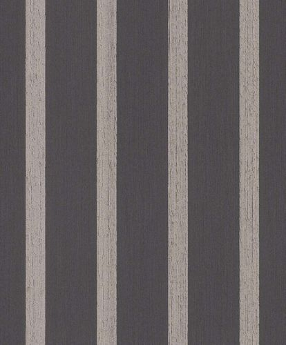 Textile Wallpaper Block Stripes black brown Glossy 077949