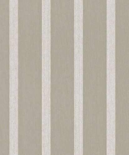 Textile Wallpaper Block Stripes Classic brown grey 077987