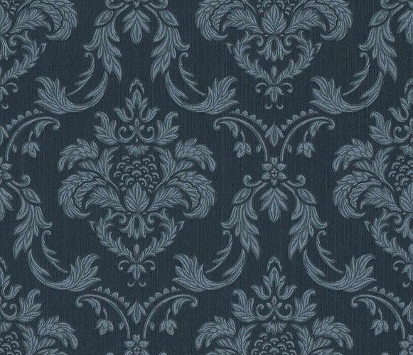 Textiltapete Rasch Textil Barock dunkelblau silber 078069