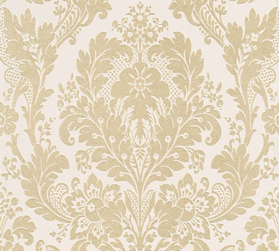 white and gold floral wallpaper - photo #15