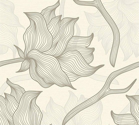 Wallpaper Lars Contzen floral graphic white grey 34089-4
