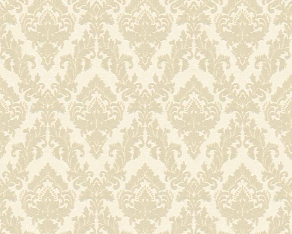 Flock wallpaper ornament cream cream architects paper 33582 2 - Cream flock wallpaper ...