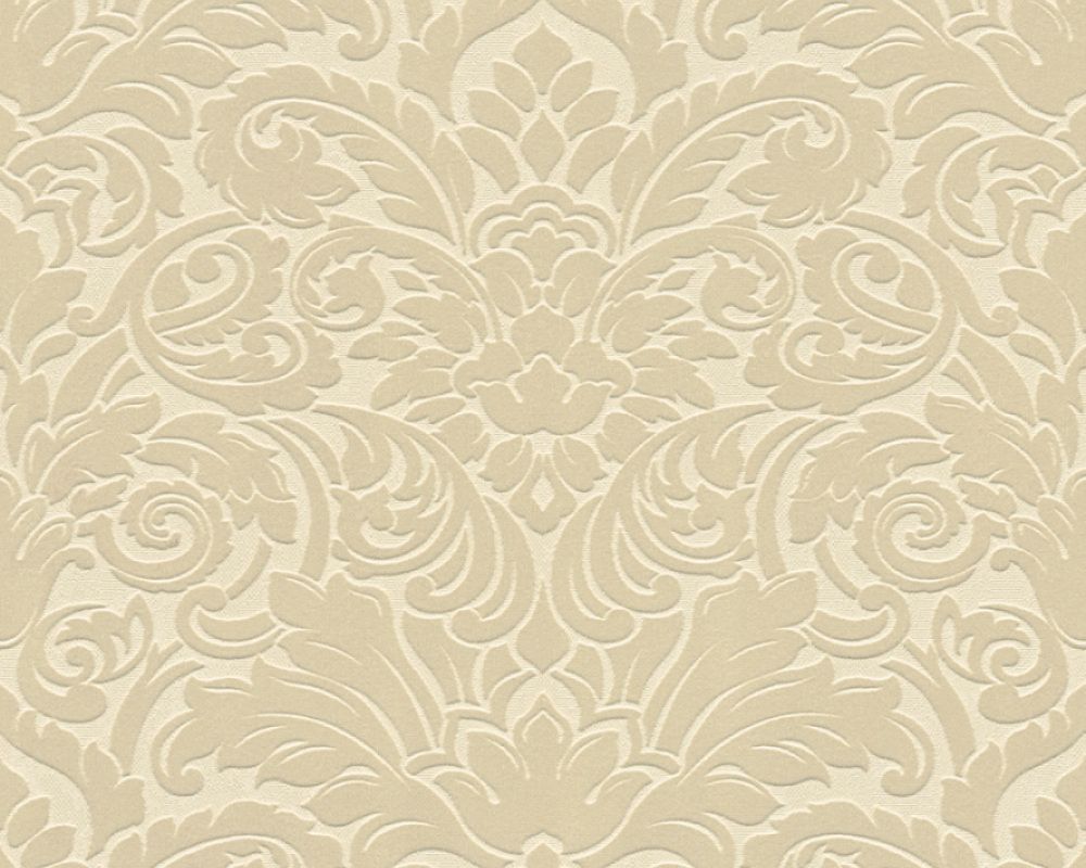 Flock wallpaper baroque cream beige architects paper 33583 1 - Cream flock wallpaper ...