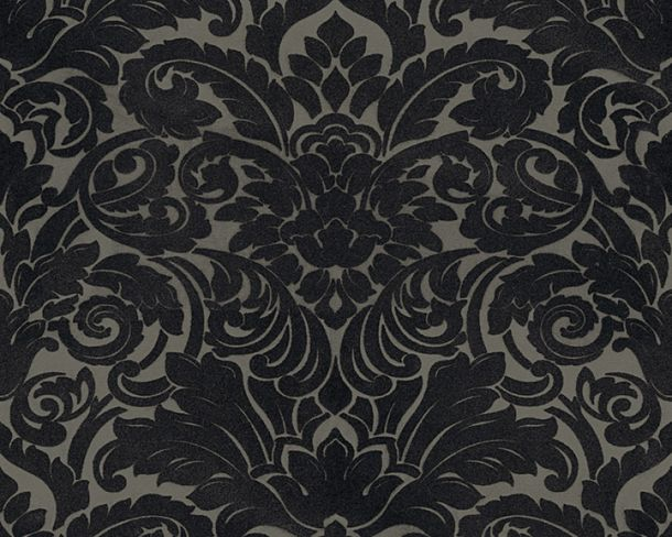 Flock wallpaper baroque taupe black Architects Paper 33583-6 online kaufen