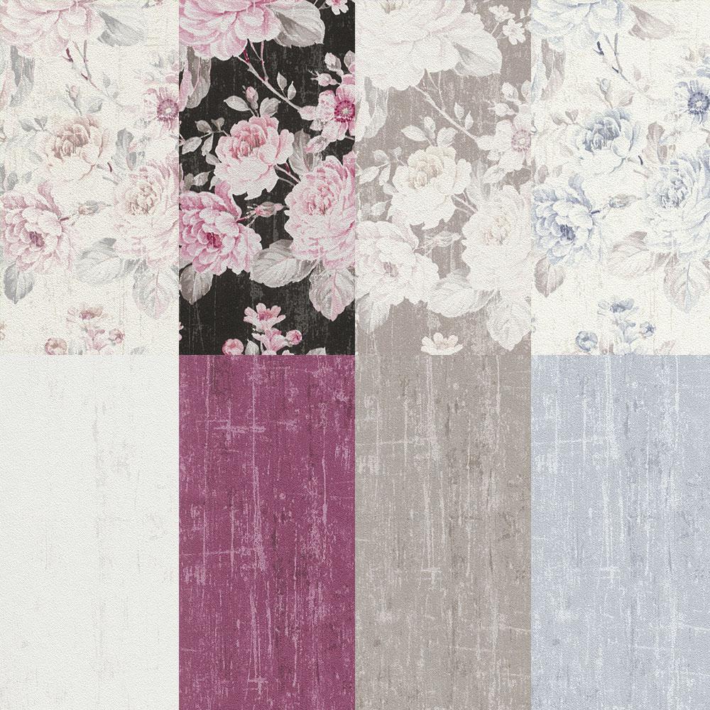 Wallpaper Rasch Flower Vintage Plain Texture Used Design 001