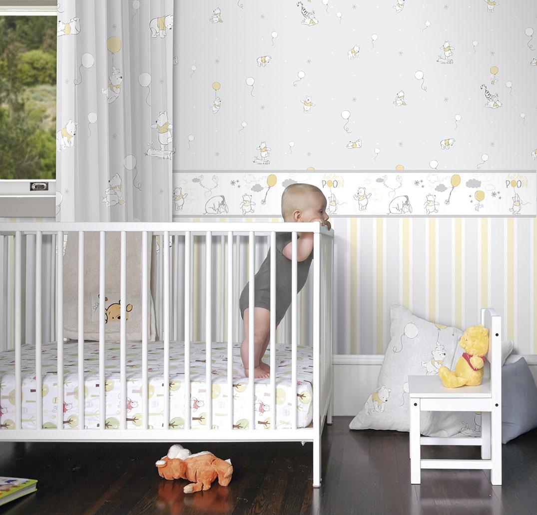Papiertapete Rasch Textil Streifen Kinderzimmer Grau Gelb Y3029 3 3