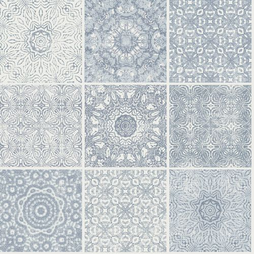 Wallpaper Rasch Textil tiles Maori blue grey white 021033