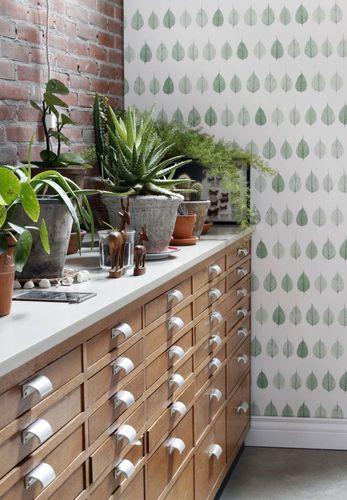 Wallpaper leafs nature green turqouis 128848 online kaufen