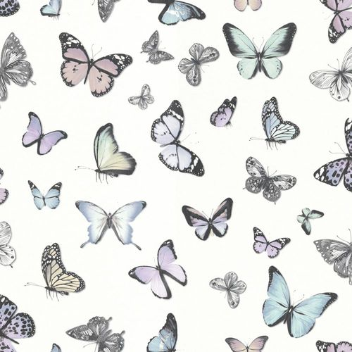 Wallpaper Rasch Textil butterflies white colourful 138875 online kaufen