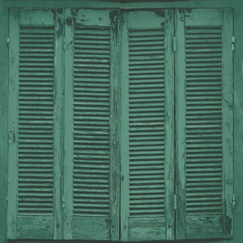 Wallpaper window shutter green black 138885