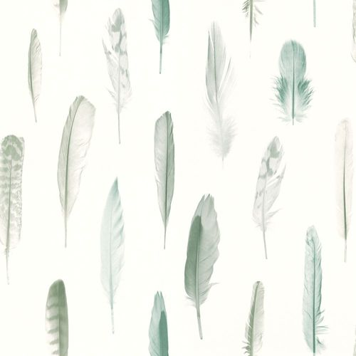 Wallpaper World Wide Walls feathers white green 138894