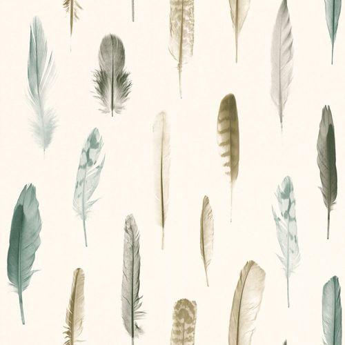 Wallpaper feathers cream white anthracite 138896