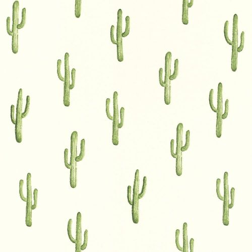Wallpaper World Wide Walls cactus white green 138899