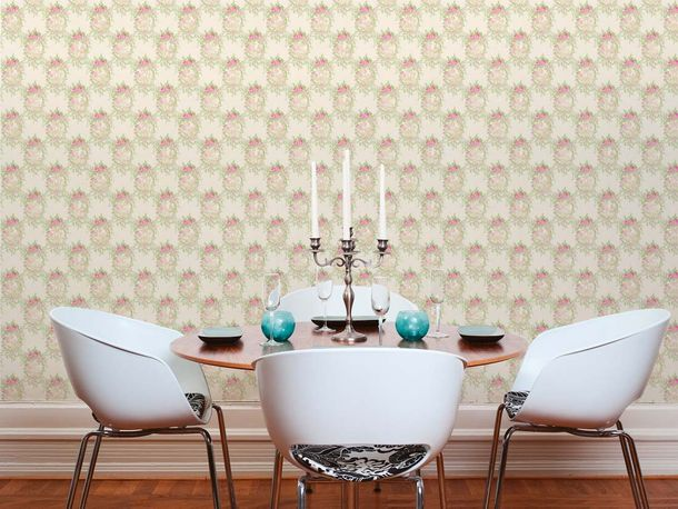 Wallpaper cottage style white green gloss AS Creation 34499-2 online kaufen