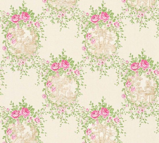 Wallpaper cottage style white green gloss AS Creation 34499-2