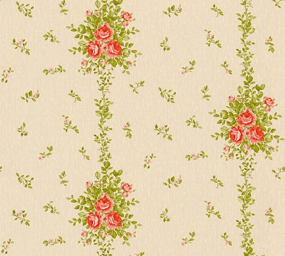 Wallpaper roses cream green gloss AS Creation 34500-1