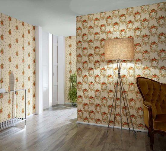 Wallpaper roses cream green gloss AS Creation 34500-1 online kaufen