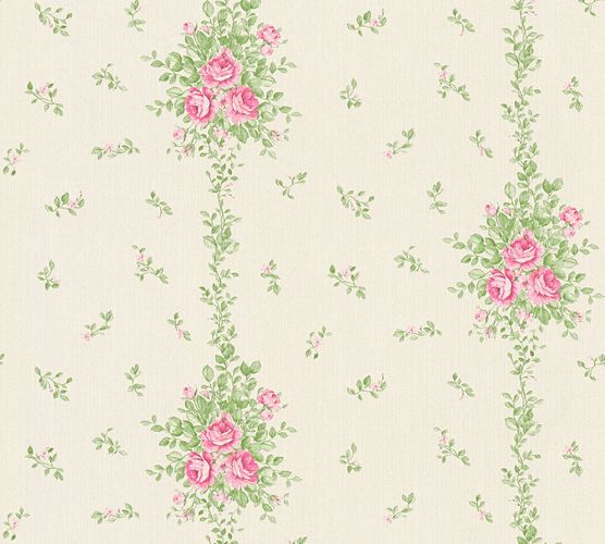 Wallpaper roses white green gloss AS Creation 34500-2 online kaufen