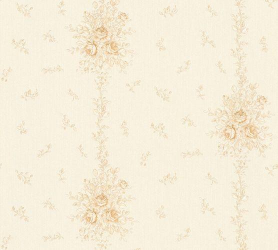 Vliestapete Rosen weiß silberbeige Glanz 34500-4