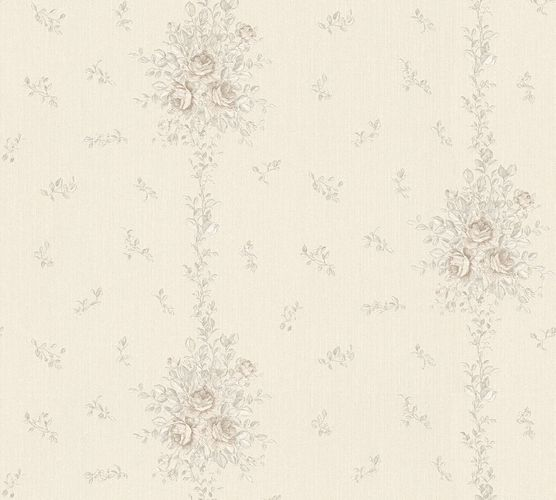 Wallpaper roses white silver gloss AS Creation 34500-5
