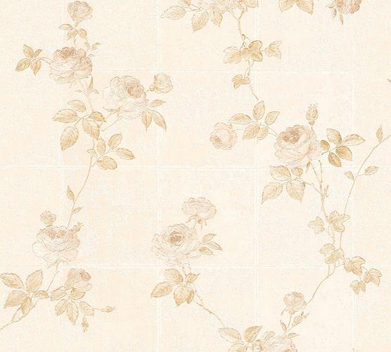 Vliestapete Floral Kacheln weiß creme Glanz 34501-2