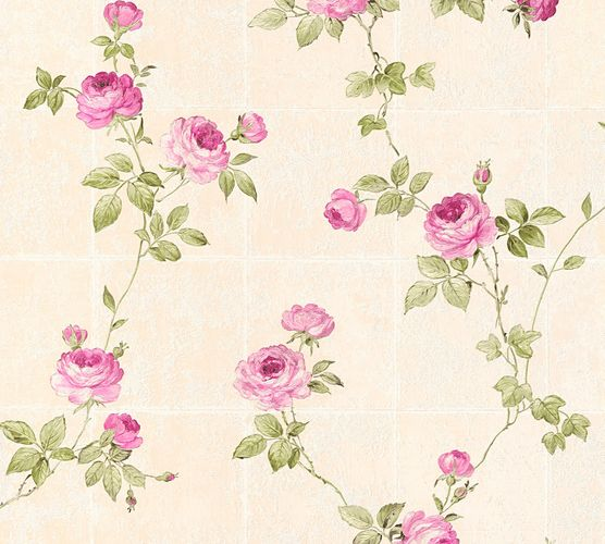 Vliestapete Floral Kacheln beige grün Glanz 34501-4