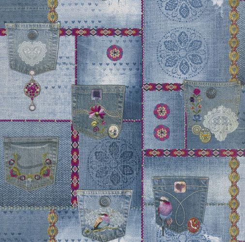 Wallpaper denim jeans style patchwork blue white P+S 05568-10