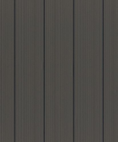 Wallpaper Rasch stripes anthracite black gloss 433135