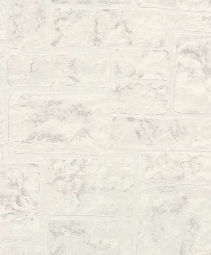 Wallpaper Rasch stone wall bricks grey white gloss 799507