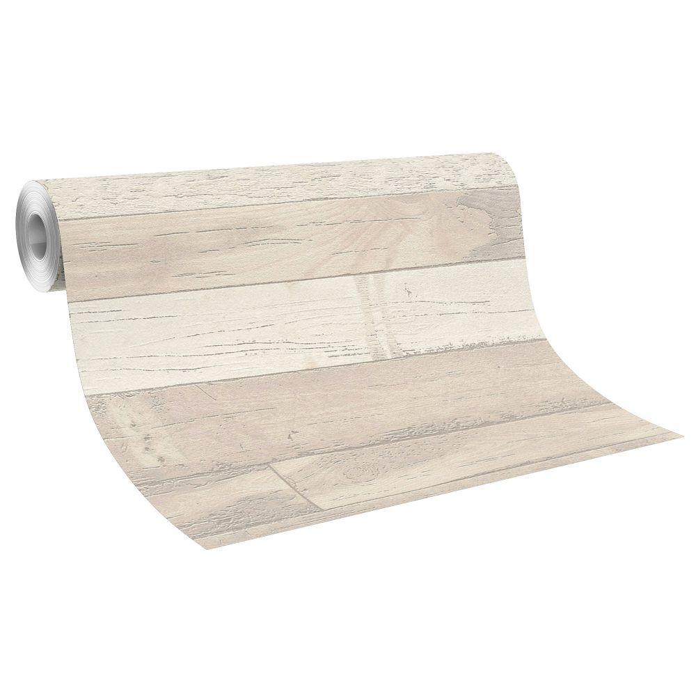 Wallpaper rasch wood planks grey beige 799613 for Bett grau holz