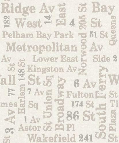 Wallpaper Rasch USA street vintage white grey 886719