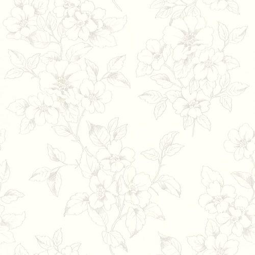 Wallpaper Rasch flowers floral white silver gloss 801903