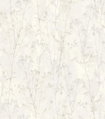 Vliestapete Rasch Putz-Optik Floral weiß 802016