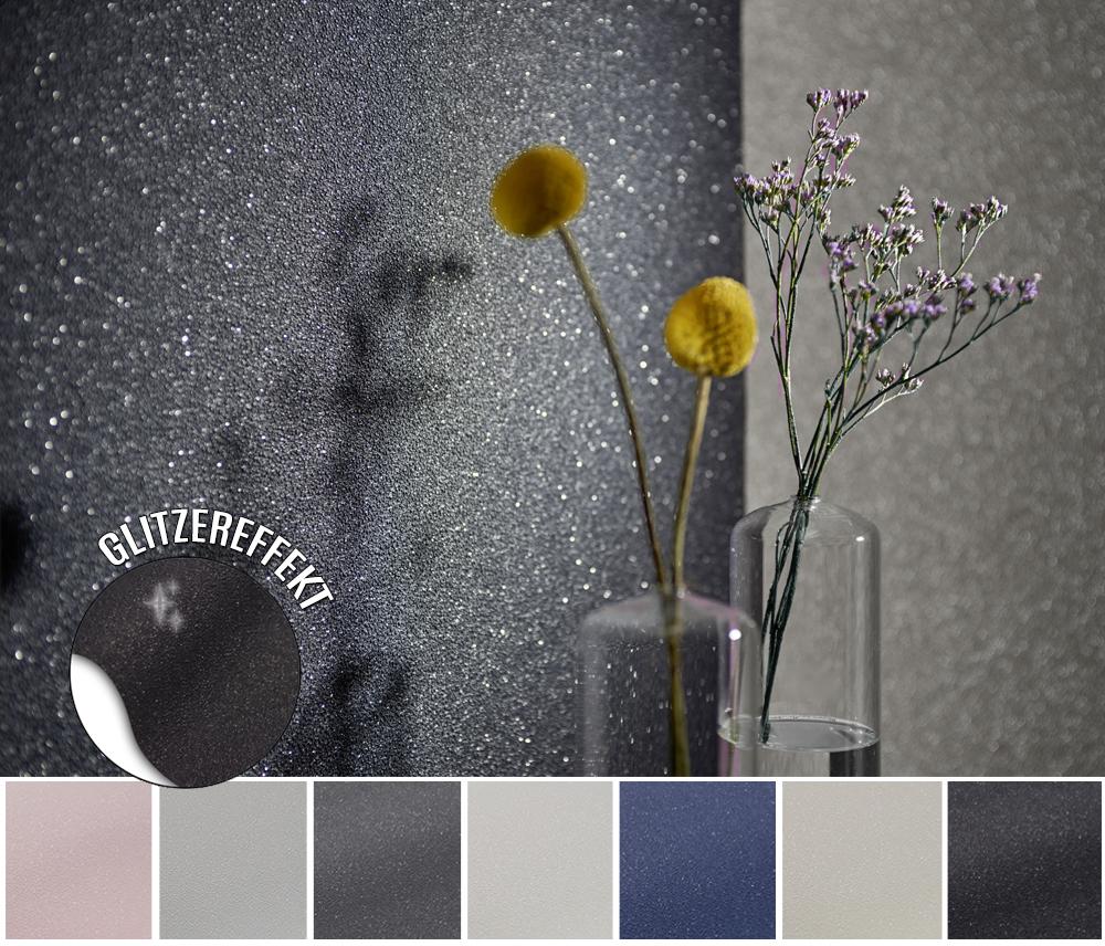 Glitzertapete Vlies Tapete Glitzer Struktur Glitter 7 Farben