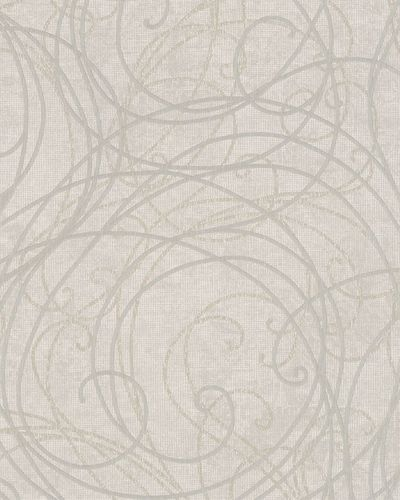 Wallpaper ornaments white grey silver gloss Marburg 59102