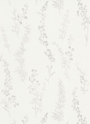 Wallpaper tendrils white light grey gloss Erismann 6482-31