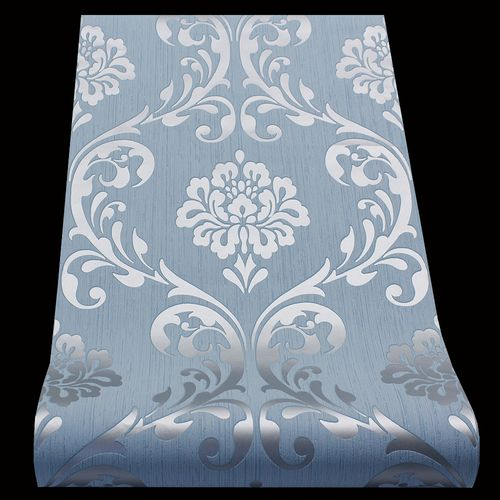 Wallpaper baroque ornament classic blue gloss 13110-80