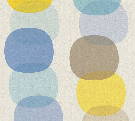 Wallpaper retro circles white grey blue AS Creation 35590-1