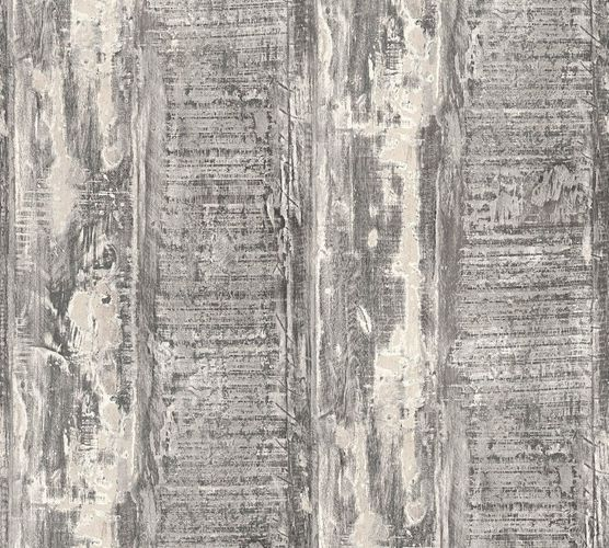 Wallpaper vintage driftwood dark grey cream livingwalls 35413-3