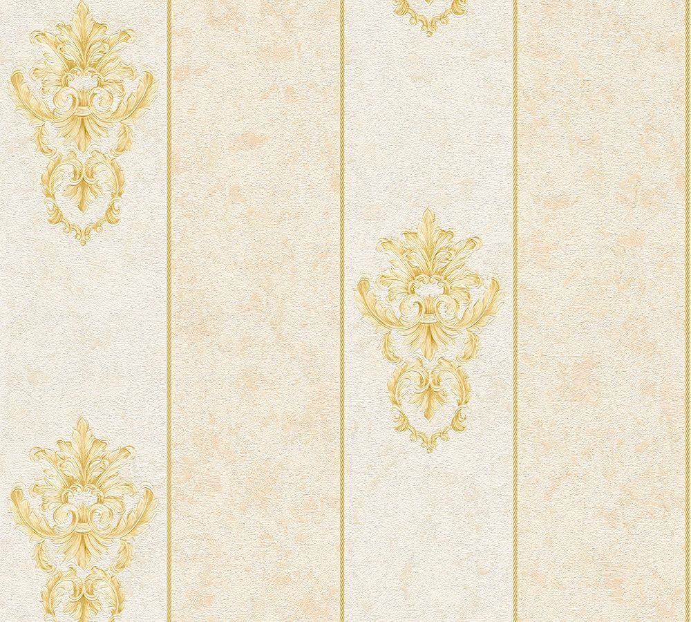 vliestapete barock streifen creme beige ap 34371 1. Black Bedroom Furniture Sets. Home Design Ideas