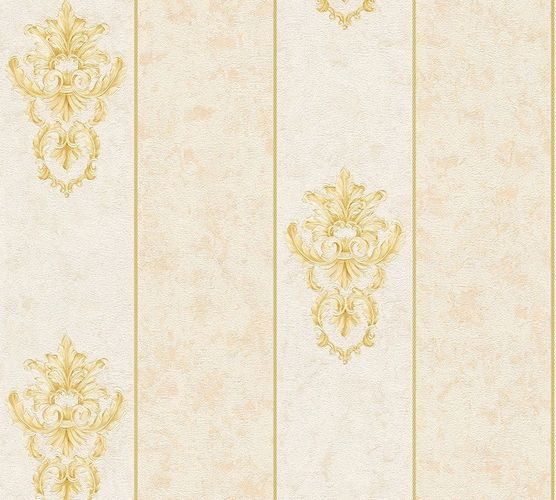 Non-woven wallpaper baroque stripes cream beige AP 34371-1